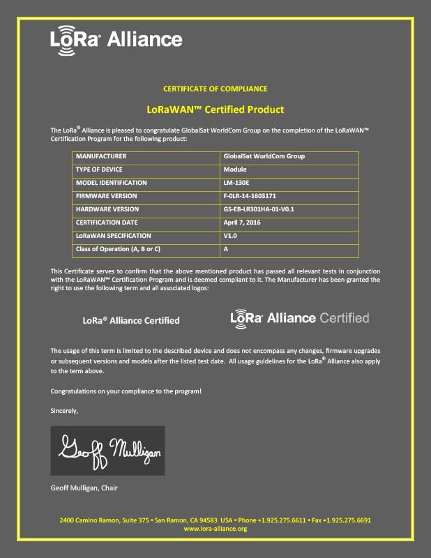 GlobalSat LM-130E LoRa Module obtains LoRaWAN certification